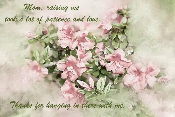 Photograph - Mom, Raising Me Took A Lot Of Patience - Mother's Day Card by Kay Brewer