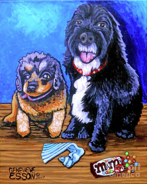 Wall Art - Painting - Momma And Auggie by Genevieve Esson