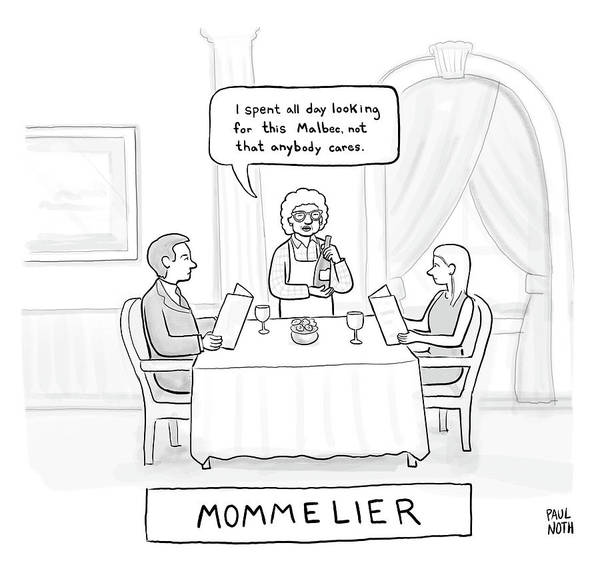 Wine Drawing - Mommelier by Paul Noth