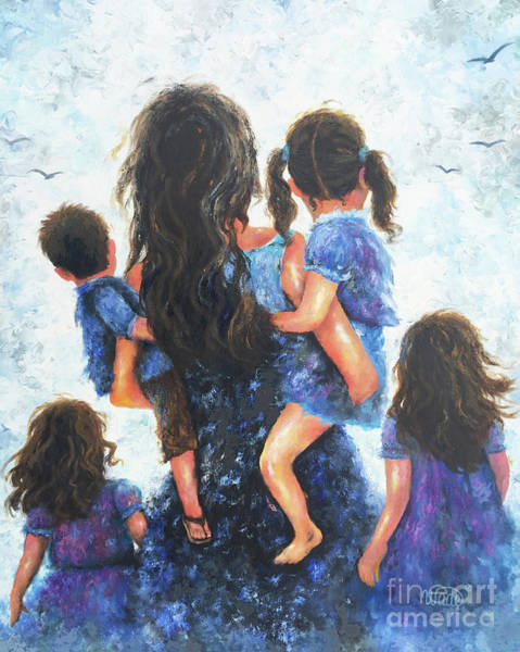 Wall Art - Painting - Mommy, Carry Me Too 4 Children by Vickie Wade
