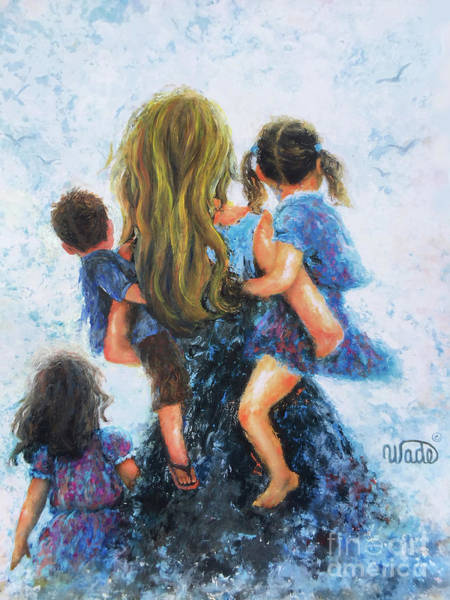 Wall Art - Painting - Mommy, Carry Me Too Blonde Mother by Vickie Wade