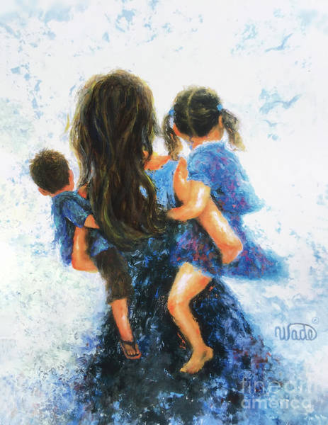 Wall Art - Painting - Mommy, Carry Me Too Girl And Boy by Vickie Wade