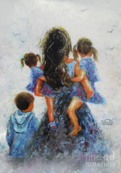 Wall Art - Painting - Mommy Carry Me Too Son And Two Daughters by Vickie Wade