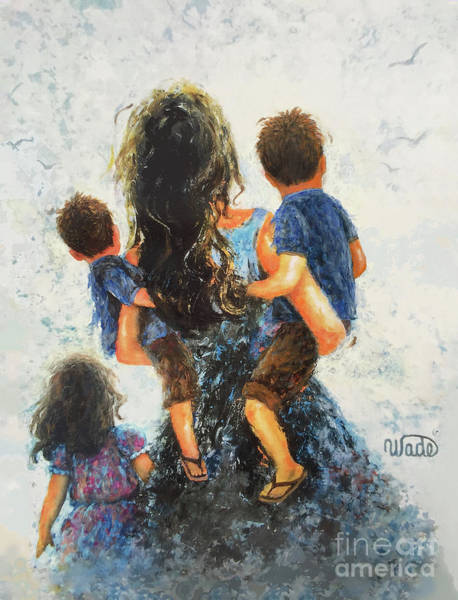 Wall Art - Painting - Mommy, Carry Me Too Two Sons And Daughter by Vickie Wade