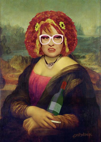 Mona Lisa Wall Art - Digital Art - Mona Linda - Aka The Auburn Jerry Hall - Gawjuss And Vile by Big Fat Arts