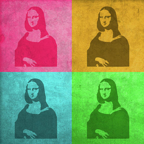 Mona Lisa Wall Art - Mixed Media - Mona Lisa Painting Vintage Pop Art by Design Turnpike