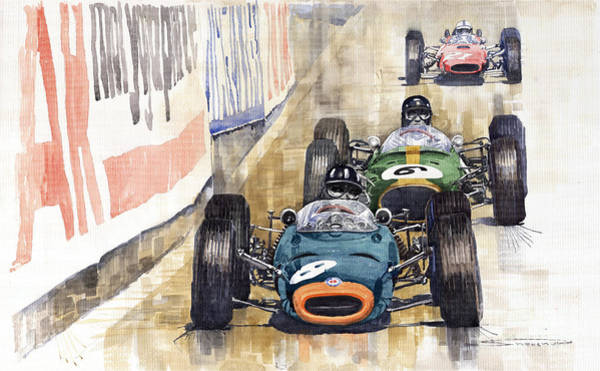 Watercolours Wall Art - Painting - Monaco Gp 1964 Brm Brabham Ferrari by Yuriy Shevchuk
