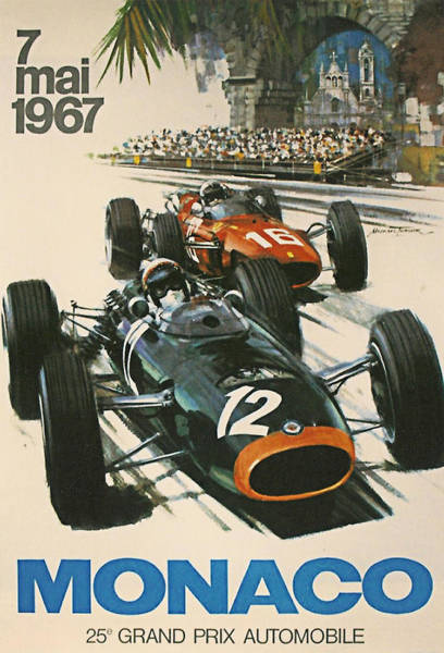 Formula One Digital Art - Monaco Grand Prix 1967 by Georgia Fowler