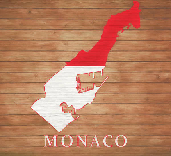 European Vacation Mixed Media - Monaco Rustic Map On Wood by Dan Sproul