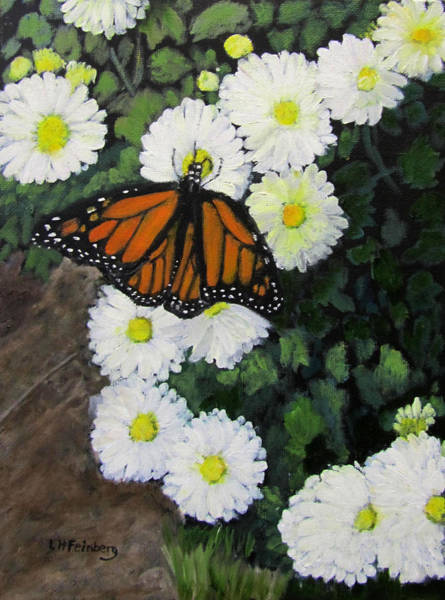 Painting - Monarch Amid The Mums by Linda Feinberg