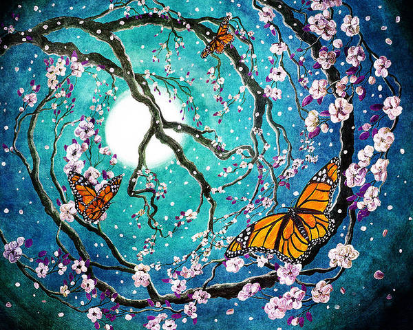 Wall Art - Digital Art - Monarch Butterflies In Teal Moonlight by Laura Iverson