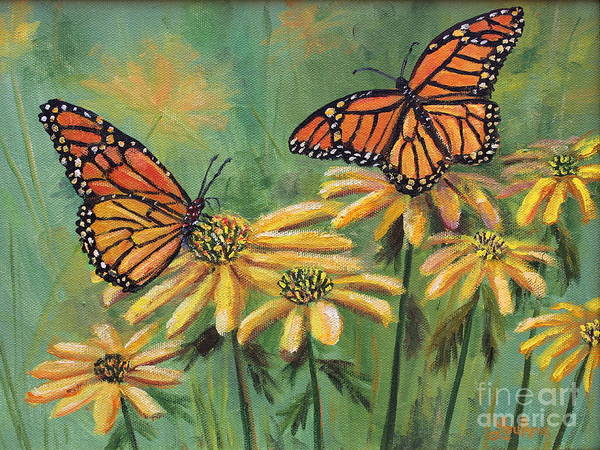 Wall Art - Painting - Monarch Butterflies by Lou Ann Bagnall