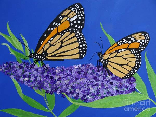 Painting - Monarch Butterflies On Buddleia Flower by Karen Jane Jones