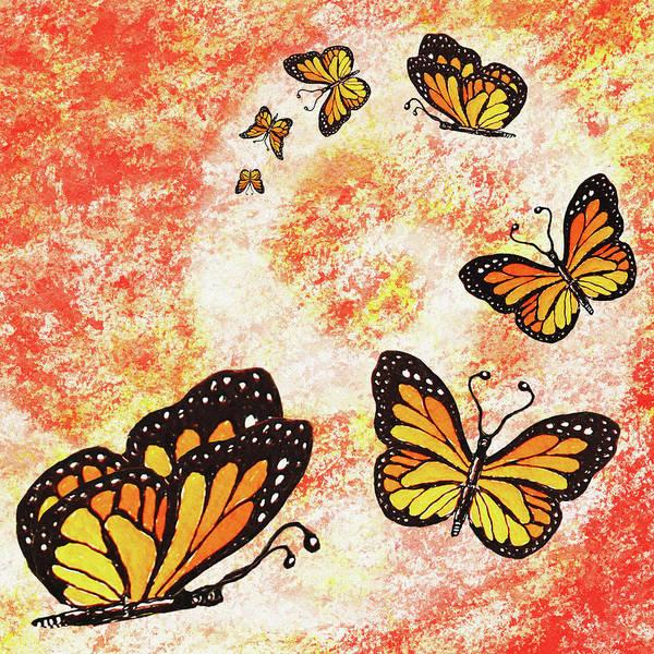 Wall Art - Painting - Monarch Butterfly Dance by Irina Sztukowski
