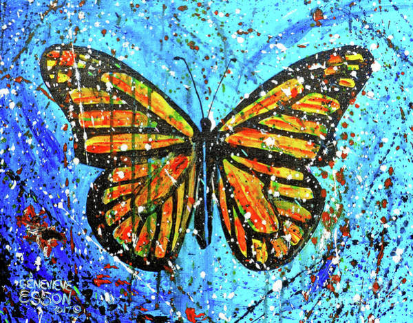 Wall Art - Painting - Monarch Butterfly Spatter Paint by Genevieve Esson