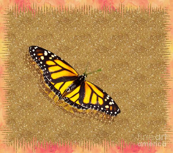 Butterfly On Flower Digital Art - Monarch Golden Glitter by Terry Weaver
