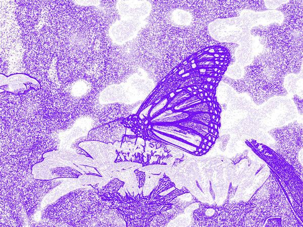 Butterfly On Flower Digital Art - Monarch's Breakfast I As Charcoal Drawing by Frank LaFerriere