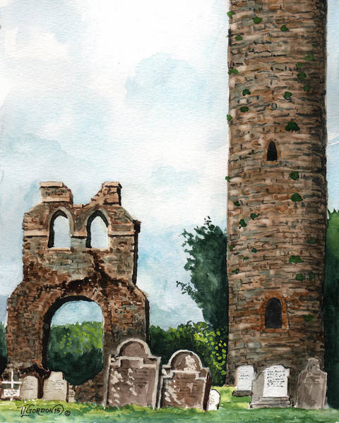 Wall Art - Painting - Monasterboice Ruins Ireland by Timithy L Gordon