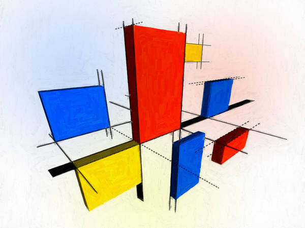 Square Painting - Mondrian 3d by Michael Tompsett