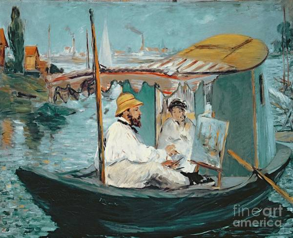 Floating Painting - Monet In His Floating Studio by Edouard Manet