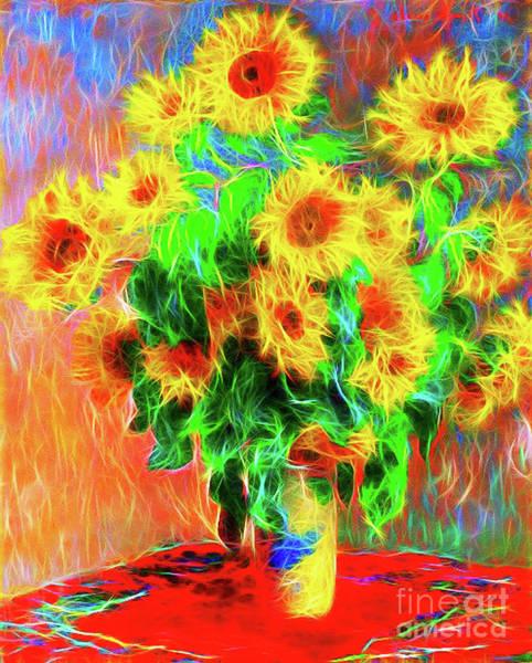 Wall Art - Digital Art - Monet Sunflowers Reimagined by Jerome Stumphauzer