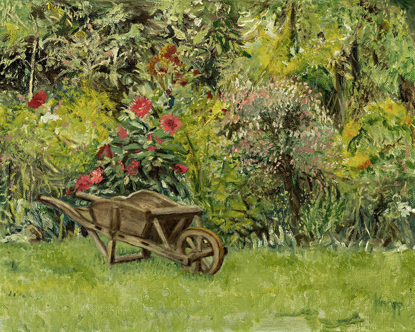 Monet's Garden Wheelbarrel Art Print