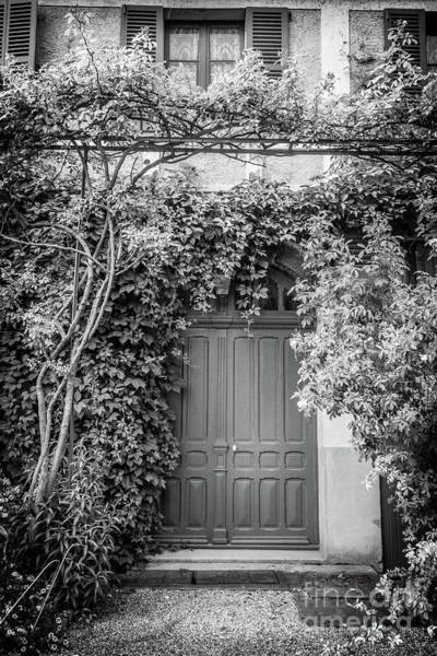 Claude Monet Photograph - Monet's Green Door Garden, Giverny, Black And White by Liesl Walsh