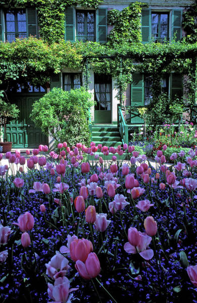 Giverny Photograph - Monet's House With Tulips by Kathy Yates