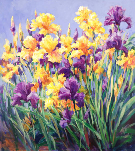 Reach For The Sky Wall Art - Painting - Monet's Iris Garden by Laurie Snow Hein