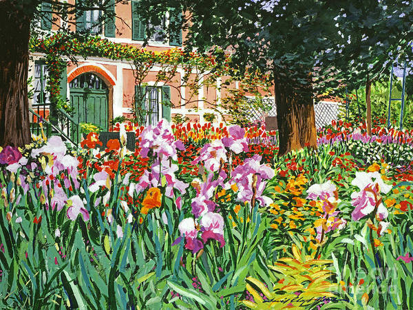 Giverny Painting - Monet's Irises by David Lloyd Glover
