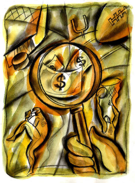 Wall Art - Painting - Money And Professional Sports   by Leon Zernitsky