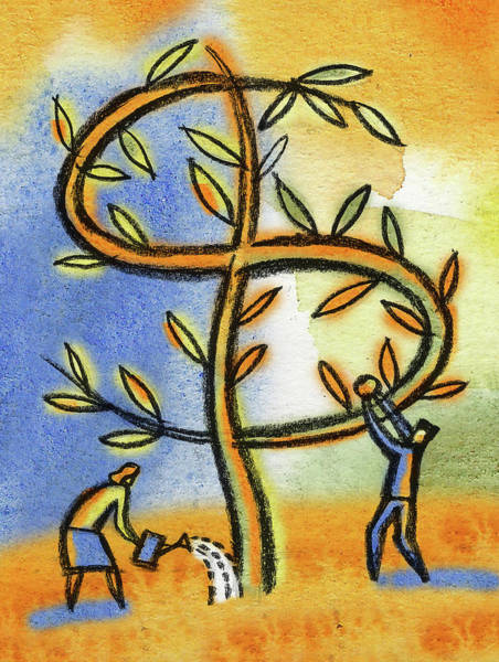 Wall Art - Painting - Money Tree by Leon Zernitsky