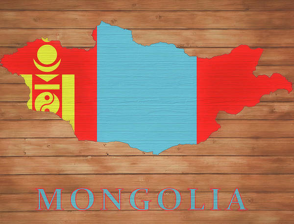 Wall Art - Mixed Media - Mongolia Rustic Map On Wood by Dan Sproul