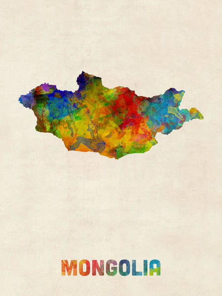 Digital Art - Mongolia Watercolor Map by Michael Tompsett