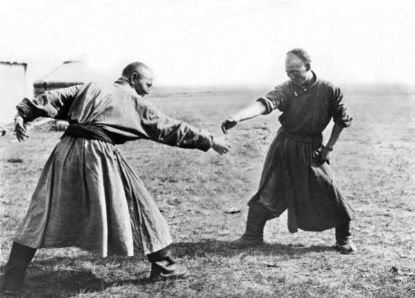 Wall Art - Photograph - Mongolian Wrestling by Underwood Archives