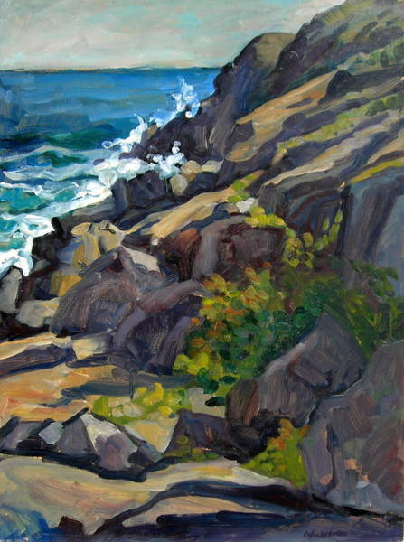 Painting - Monhegan Headlands Maine Oil Painting Seascape 18x24 Plein Air  by Thor Wickstrom