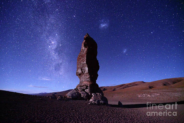 Photograph - Monjes De La Pacana Milky Way And Magellanic Clouds Chile by James Brunker