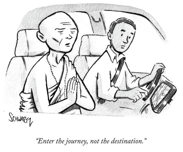 Taxi Drawing - Monk Enters A Cab With No Destination. by Benjamin Schwartz