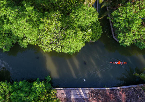 Photograph - Monk Rowing Boat Along Floating Market Aerial View by Pradeep Raja PRINTS
