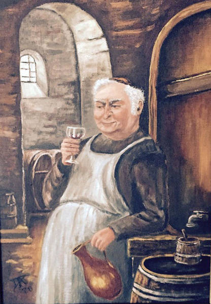 Monk With Wine Art Print