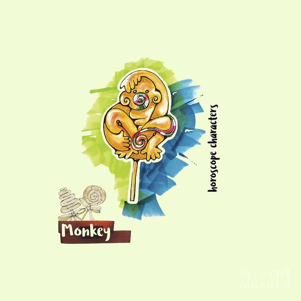 Drawing - Monkey Horoscope by Ariadna De Raadt