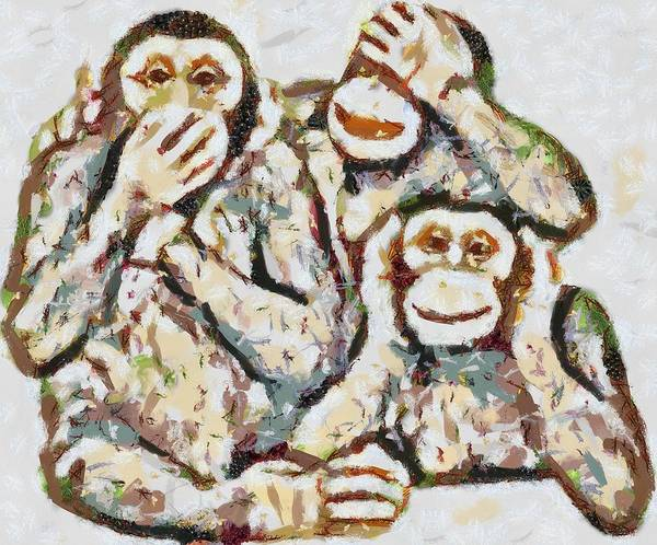Digital Art - Monkey See Monkey Do Fragmented by Catherine Lott