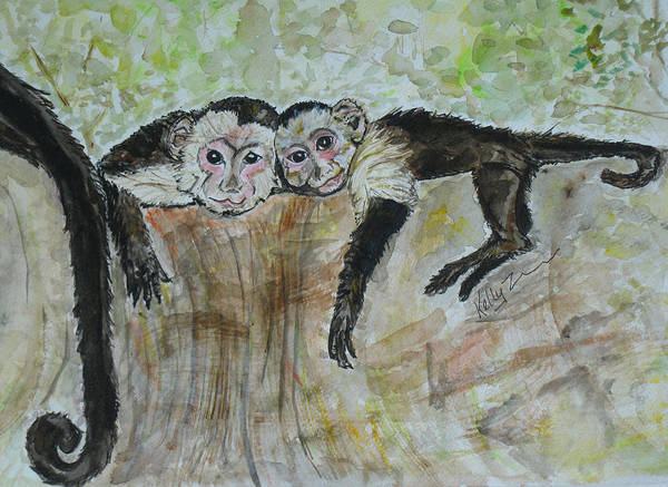 Mono Painting - Monkey Sibling Love by Kelly     ZumBerge