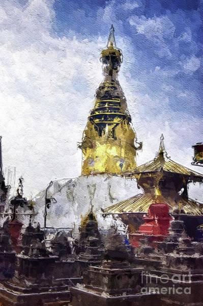 Buddhist Temple Wall Art - Painting - Monkey Temple, Nepal by Mary Bassett