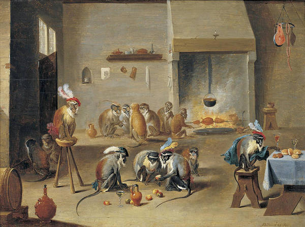 Wall Art - Painting - Monkeys In A Tavern by Studio of David Teniers the Younger