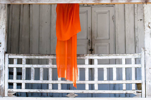 Photograph - Monk's Robe Hanging Out To Dry, Luang Prabang, Laos by Neil Alexander