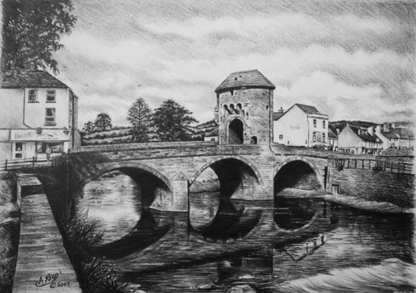 Wales Drawing - Monnow Bridge by Andrew Read