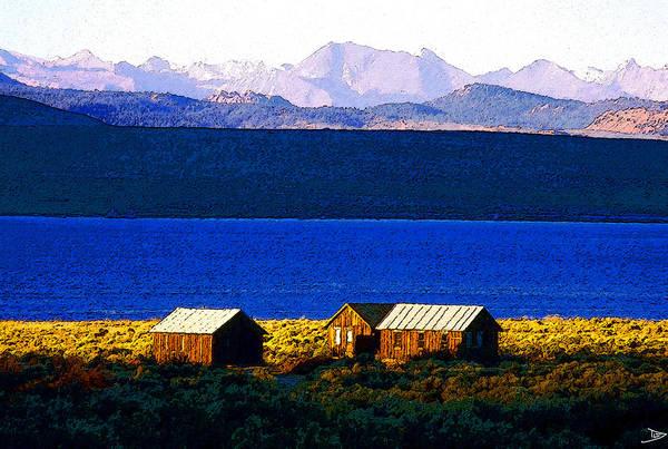 Mono Painting - Mono Lake Cabins by David Lee Thompson
