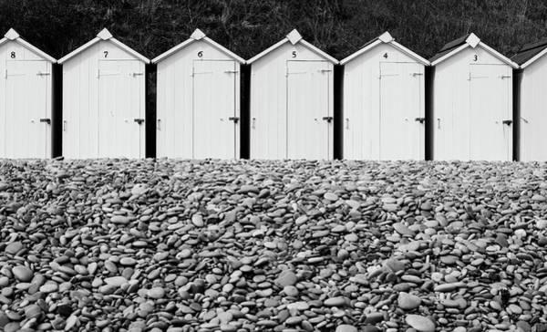 Photograph - Monochrome Beach Huts by Helen Northcott