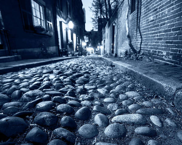Photograph - Monochrome Blue Acorn Street Cobblestone Detail Boston Ma by Toby McGuire